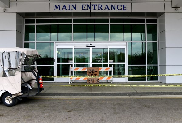 The main entrance of Oktibbeha County Hospital is closed Thursday in Starkville, Mississippi. The hospital is limiting visitors for patients and screening every person who enters the hospital for illness. / Photo by: Jennifer Mosbrucker/Special to The Dispatch