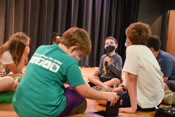 "Kanat Sarp, 7, talks into a microphone while playing an improv game called ""This just in"" during the Atmos Energy Summer Arts Academy on Thursday at the Columbus Arts Council. / Photo by: Claire Hassler/Dispatch Staff"