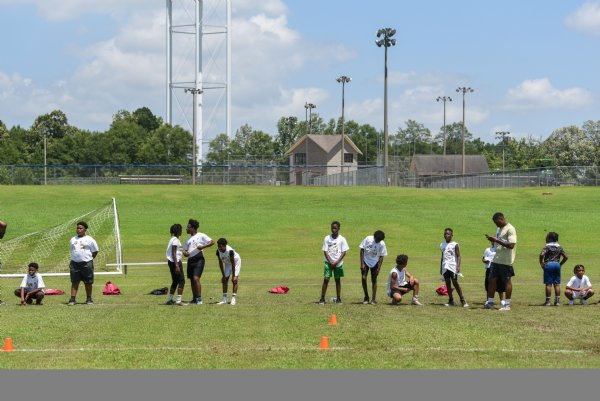 Kids prepare to do a drill during the Jeffery Simmons Football camp on Friday at the Starkville Sportsplex in Starkville. About 150 kids in first through eighth grade attended the camp on Friday. / Photo by: Claire Hassler/Dispatch Staff