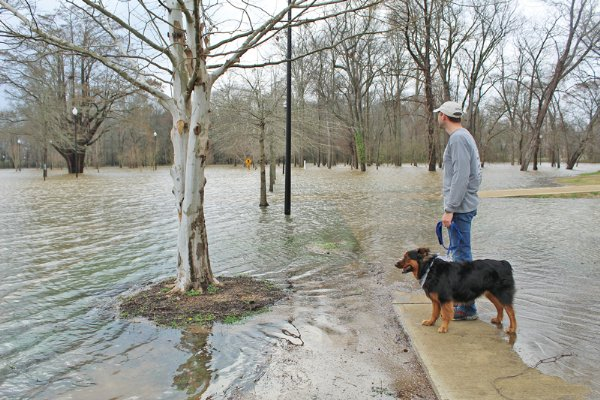Zach Thomas and his rescue dog Cope ponder the flooded Columbus Soccer Complex Wednesday afternoon.