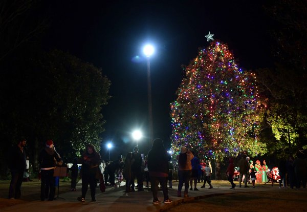 The Christmas tree by the Columbus Riverwalk was turned on during the annual tree lighting ceremony Dec. 5. The tree was chosen because of its location. It can be seen from downtown as well as from Highway 82. Before moving to the Riverwalk, the annual tree lighting was held adjacent to the Tennessee Williams home on Main St. / Photo by: Jennifer Mosbrucker/Dispatch Staff