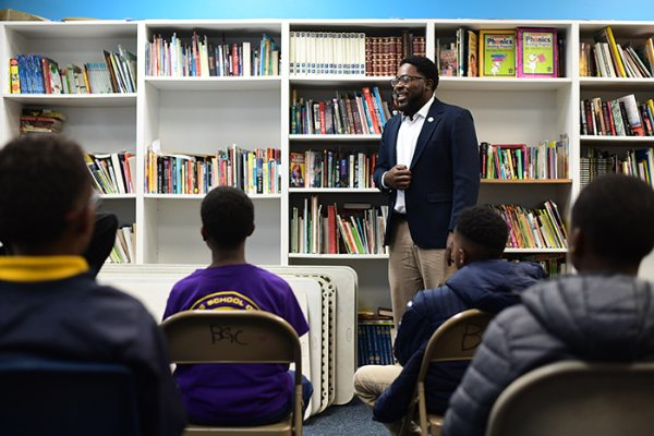 Ward 4 City Councilman Pierre Beard speaks with students during the kickoff for his mentorship program Nov. 1 at the Boys & Girls Club of Columbus. During the event, Beard spoke to three classrooms of students ages 8-17. The group then moved to the gym where students played a basketball scrimmage with mentors from the community. Beard went around the room and asked students what they would like to be when they grow up. / Photo by: Jennifer Mosbrucker/Dispatch Staff
