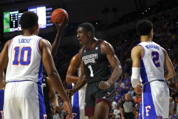 Mississippi State Bulldogs forward Reggie Perry (1) reacts as he makes a basket while getting fouled against the Florida Gators during the first half at the Stephen C. O'Connell Center.