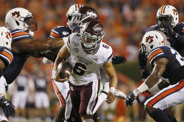 Mississippi State quarterback Garrett Shrader carries against Auburn during the first quarter on Sept. 28 at Jordan-Hare Stadium in Auburn, Alabama.
