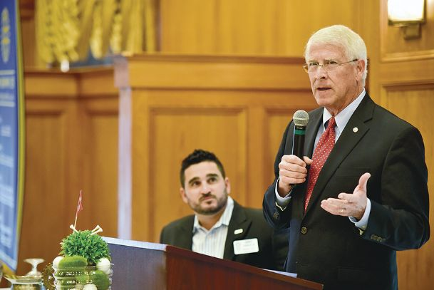 Sen. Roger Wicker speaks to members of the Columbus Rotary Club at Lion Hills Center on Tuesday. He spoke to Rotarians and the Lowndes County Republican Women mainly about Republican efforts in Washington to repeal Obamacare.