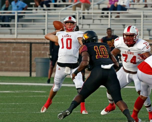 EMCC quarterback Connor Neville prepares to throw a pass during Thursday's win over Pearl River.