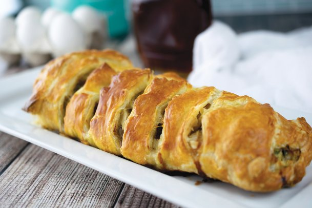 This maple breakfast braid starts the day with a combo of savory and sweet.