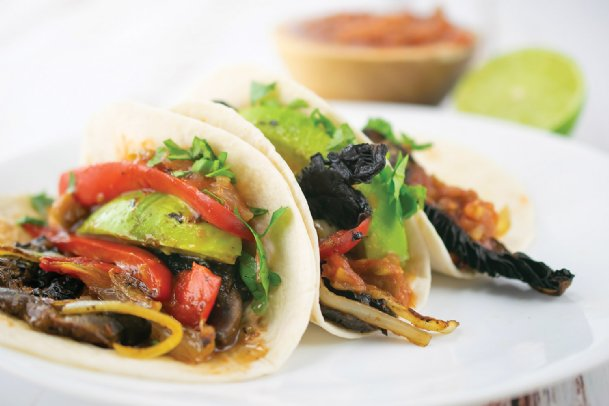 Try a healthier version of fajitas by using portobello mushrooms instead of meat.