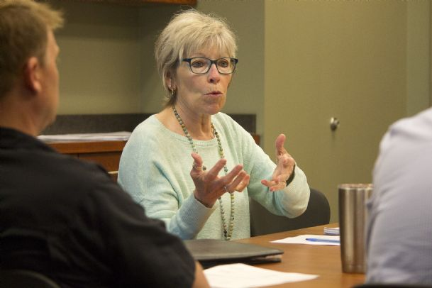 Mayor Lynn Spruill speaks to aldermen during Friday's board of aldermen meeting. Aldermen approved a settlement agreement with Starkville Pride. Photo by: Alex Holloway/Dispatch Staff