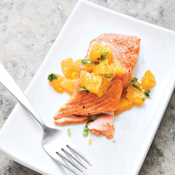 A hybrid roasting method keeps this salmon with tangerine and ginger relish from overcooking.