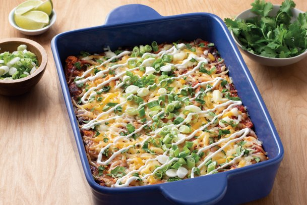 This California-style cheesy enchilada casserole can be made ahead of time and frozen as individual portions, if desired.