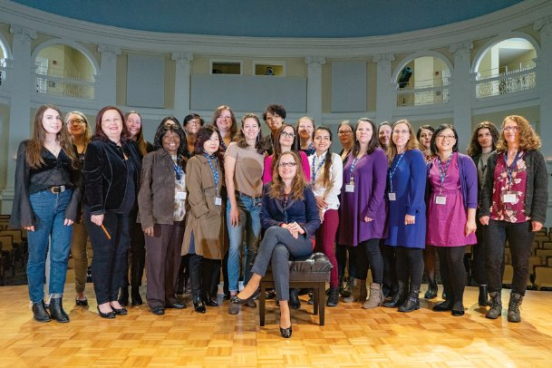 Julia Mortyakova, seated, Department of Music chair at The W, is pictured with faculty members and presenters for the 2019 Music by Women Festival. This year's festival is Thursday through Saturday at the university.