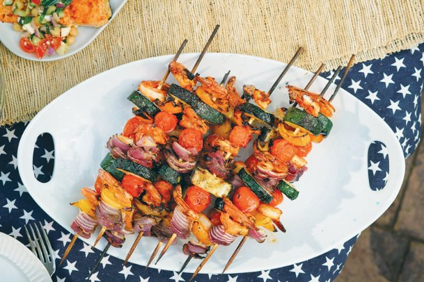 These easy shrimp skewers can be ready in short order to cook for about nine minutes for a summer treat of seafood and seared vegetables.