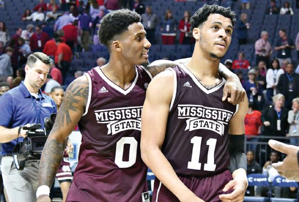 Mississippi State guard Nick Weatherspoon (0) and guard Quinndary Weatherspoon (11) react Saturday after defeating Ole Miss 81-75 at The Pavilion at Ole Miss.