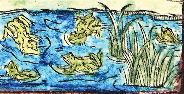 A mid-1600s woodcut of frogs in a pond is shown. In the late 1500s, English Queen Elizabeth I was being courted by a Frenchman, Francois, Duke of Anjou. The Duke's nickname was