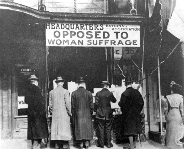 Passersby pause outside the New York headquarters of the National Association Opposed to Woman Suffrage, ca. 1919. A pop-up exhibition marking the 100th anniversary of ratification of the 19th Amendment and women's voting rights opens March 2 at the Columbus-Lowndes Public Library. A free presentation by speaker Rebecca Tuuri is March 17.