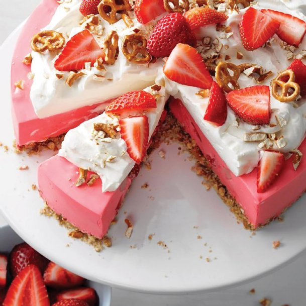 Miniature pretzels add texture and crunch to this no-bake strawberry pretzel pie that makes 16 servings.