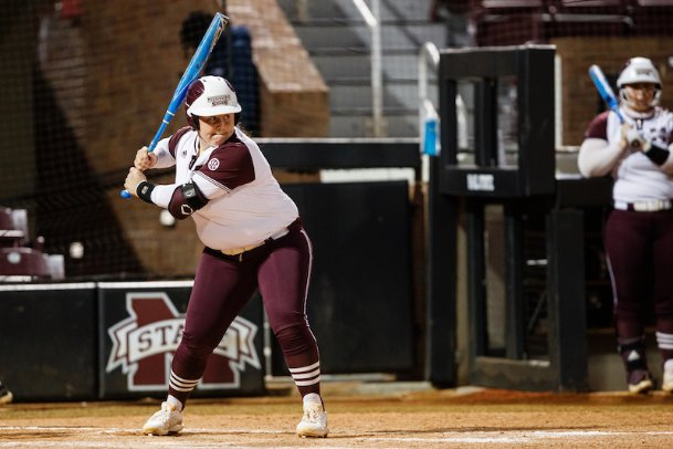 Mississippi State senior Mia Davidson emerged from a brief slump with a two-run home run to center field in the first inning Monday against Mississippi Valley State. The Bulldogs beat Missouri State 5-0 before run-ruling the Devilettes 10-1 in Starkville.