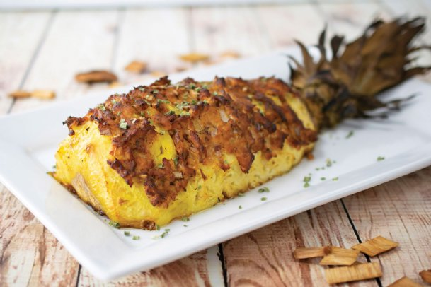 A smoked hasselback pineapple is a good way to welcome in the grilling season.