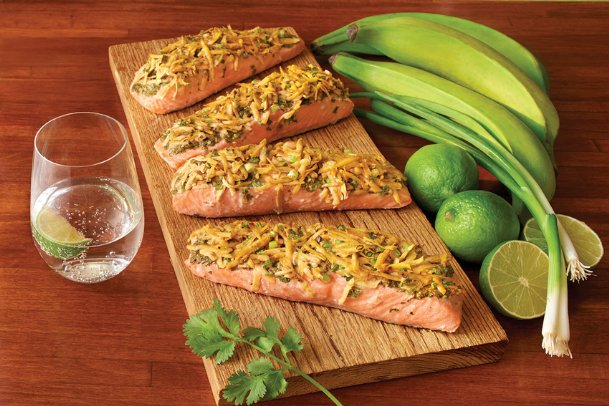 These plantain-crusted salmon fillets are one way to vary mealtimes and highlight a fruit that can be baked, roasted or fried.