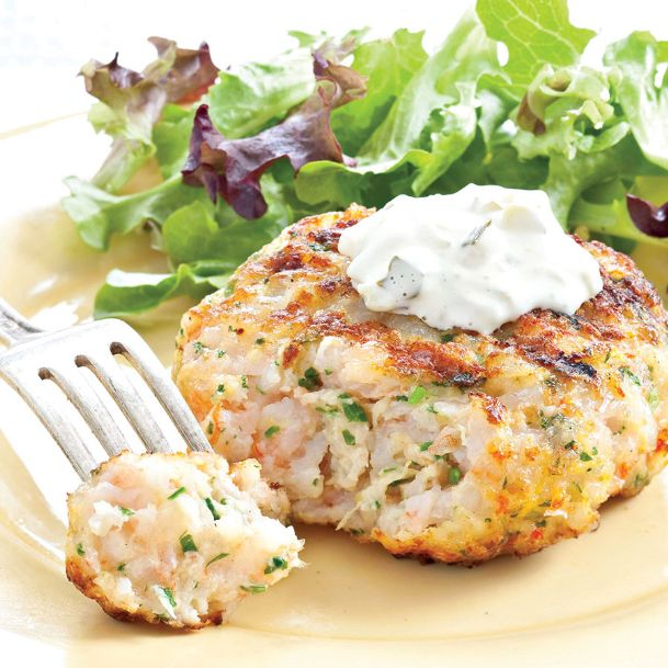 The ideal grilled Southern shrimp burger is moist, chunky and complements the sweet shrimp flavor without overpowering it.