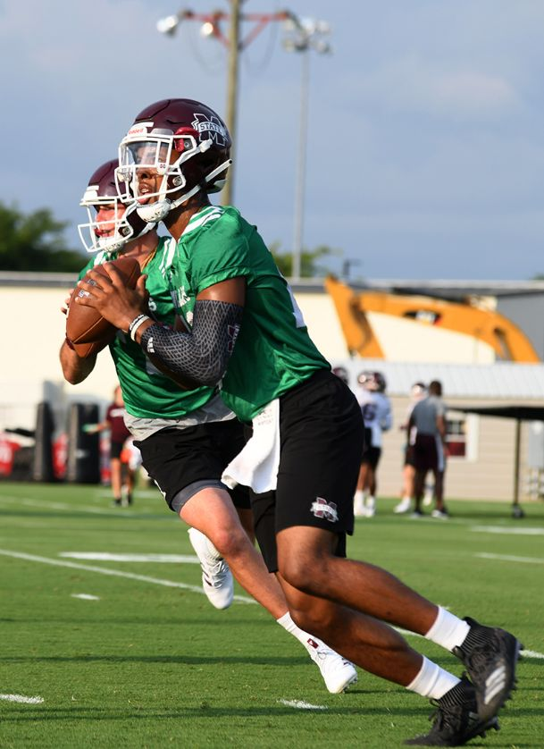 Mississippi State quarterback Keytaon Thompson throws a pass during an individual drill at a Fall Camp Practice on Friday.