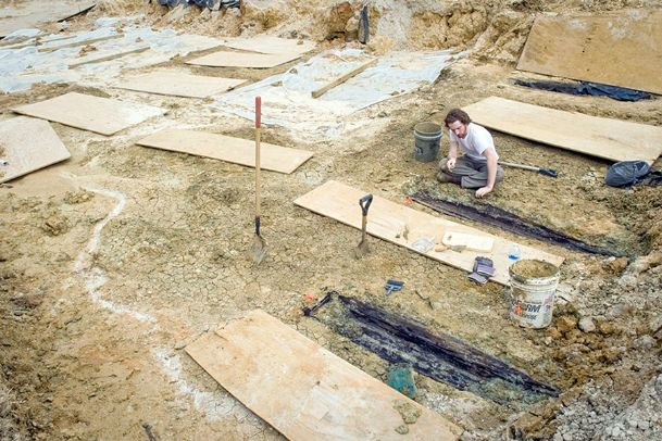 In this file photo, Forrest Follett of the Cobb Institute of Archaeology at Mississippi State University works at the Asylum Hill Cemetery site on the University of Mississippi Medical Center campus in Jackson, in 2013. The Asylum Hill Research Consortium is reaching out to the public for information that might help tell the stories of individuals who may be interred at the site. Remains from 66 exhumed graves are currently at the Cobb Institute in Starkville. The head of the Asylum Hill project, Ralph Didlake, will speak at the Columbus-Lowndes Public Library Friday at noon.