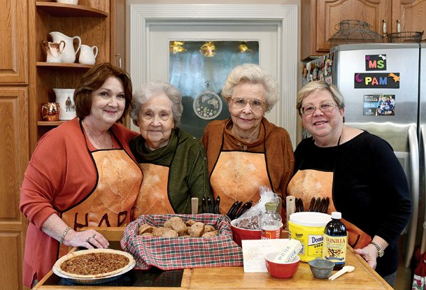 From left are Judi Jarrett and her mother, Helen Reed, and Eleanor Ellis with her daughter, Pam Bullock. Reed and Ellis are sisters; Jarrett and Bullock are first cousins. The Columbus women are pictured at Bullock's home Nov. 14 with Jarrett's whole wheat dinner rolls and Ellis' pecan pie. They are a preview of items that will be at the 59th annual Country Store Bake Sale from 10 a.m.-noon Tuesday, Nov. 26, at the Stephen D. Lee Home at 316 Seventh St. N. The sale benefits maintenance of the historic home.