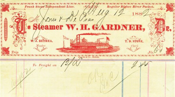 A waybill from the steamer W.H. Gardner that burned and sank near Gainesville, Alabama, with the loss of 22 lives on her way from Columbus to Demopolis in 1887.