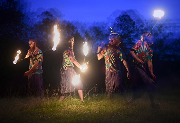 In this multiple exposure image, Danny Blackman demonstrates his fire spinning skills on Sunday evening at Cedarhill Animal Sanctuary in Caledonia. Blackman learned about fire performing from a friend while living in Chattanooga, Tennessee. He now performs in his free time when he is not working as the primary caretaker for exotic animals at Cedarhill Animal Sanctuary.