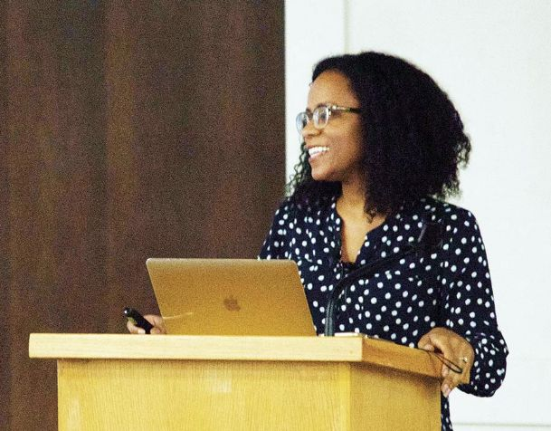 Pro-life activist Christina Bennett speaks Tuesday at Mississippi State University's Old Main Academic Center.