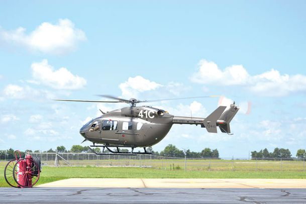 Army officials fly Airbus' 200th Lakota UH-72A helicopter to Ft. Rucker, Alabama Monday morning. The Columbus facility sent it for pilot training for the U.S. Army. The aircraft is the 440th Lakota delivery since Columbus started manufacturing Lakotas in 2006.