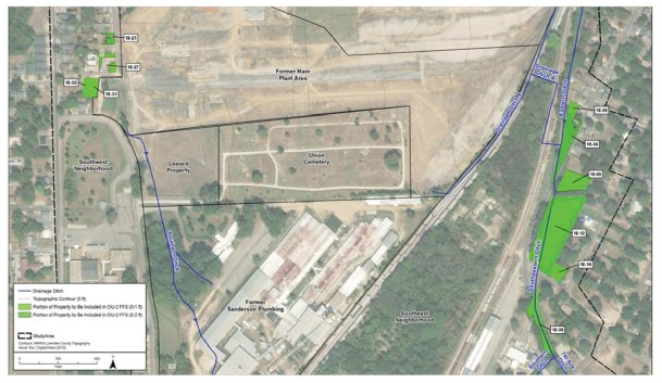 This map provided by the Environmental Protection Agency shows approximately where 11 properties in Memphis Town will have soil removed as part of the ongoing clean-up of the former Kerr-McGee site on 14th Avenue North.