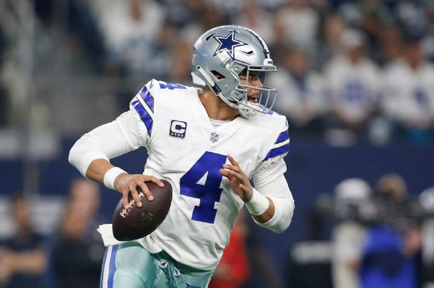 Dallas Cowboys quarterback Dak Prescott (4) rolls out in the first quarter against the Seattle Seahawks in a NFC Wild Card playoff game Saturday in Arlington, Texas.