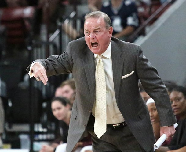 Mississippi State head coach Vic Schaefer shouts instructions to his team during the first quarter of their NCAA college basketball game against Troy Monday night in Starkville.