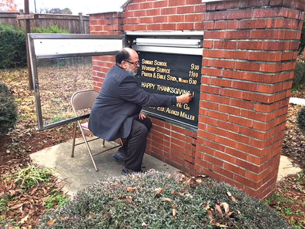 Ross Williams changes the bulletin board outside First Church of Christ Holiness in Starkville on Saturday afternoon. A lifelong member of the church, Williams also serves on several nonprofit boards in the city and is active with Starkville Community Theatre. He retired in 2018 after more than three decades working as Oktibbeha County's school attendance officer.