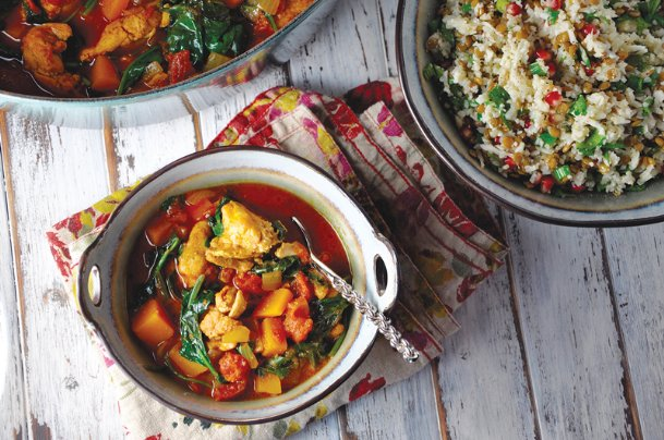 Moroccan spiced chicken and squash is a comforting one-pot dinner.