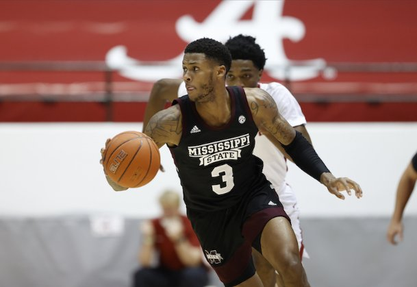 D.J. Stewart (3) and Mississippi State men's basketball hope to bounce back against Tennessee after two straight losses at 6 p.m. Tuesday in Knoxville.