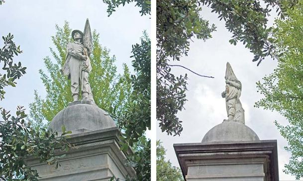 When viewed from the west, the Confederate monument at the Lowndes County Courthouse bears the image of a soldier carrying a flag, but when viewed from the east, the soldier takes on the image of a hooded figure normally associated with the Ku Klux Klan. Historians say there is nothing to indicate the unfortunate juxtaposition was anything other than an accident.