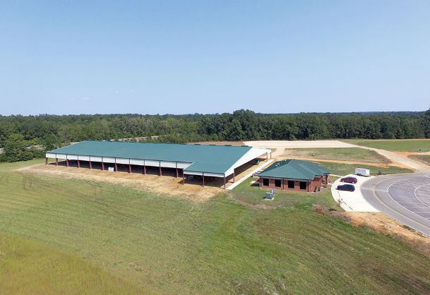 The new horse park and the Lowndes County Extension Office can be seen in this aerial photograph. The second and final phase is nearing completion, with bleachers, railing and a gravel parking lot to be added, among other improvements. A tractor will also be purchased to maintain the ground of the arena. The total cost of the project is $2.2 million.