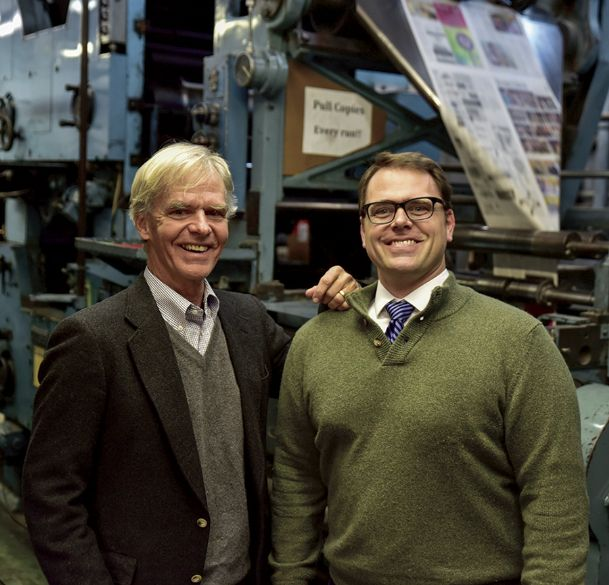 Birney Imes III, left, is stepping down from his role as publisher for The Dispatch after almost 20 years. His son, Peter Imes, right, becomes the fourth generation of the Imes family to publish the newspaper effective today. Peter has served as general manager at The Dispatch since 2010.