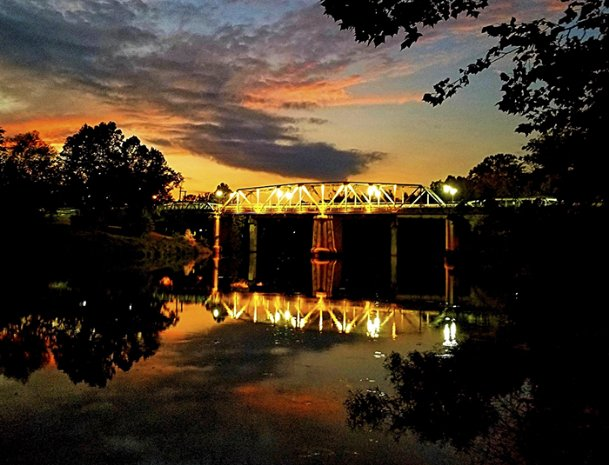 The 1928 Tombigbee River bridge at Columbus is an old swing bridge that could open to allow boats to pass. It is presently closed as a walkway due to damage that may have been caused by being struck by a barge.