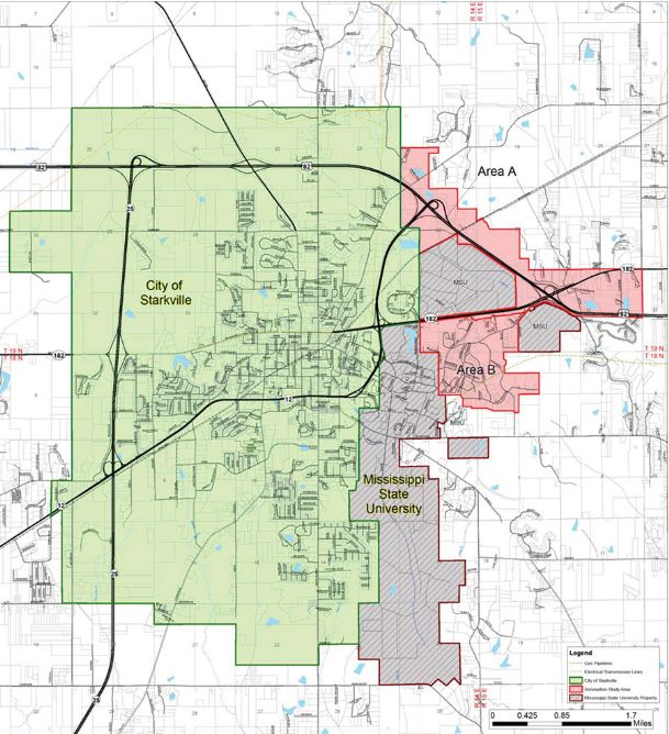 A map shows Starkville, in green, with a proposed annexation area in pink. The city will hold its first public hearing on an annexation ordinance on June 18.