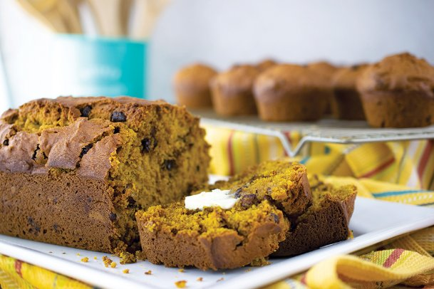 This pumpkin loaf flavored with chocolate chips and walnuts is just right for fall, warm from the oven.