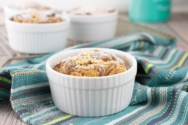 Try starting your day with a peanut butter bread pudding with maple peanut sauce.