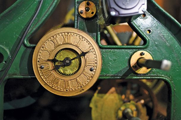 The internal clock in the Mississippi University for Women clock tower has a series of gears and shafts that connect it to the hands on the clock faces seen on the tower's exterior. This clock was manufactured in 1885 by Seth Thomas Clock Company.