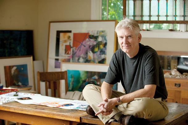 Mississippi State University Professor Emeritus of Art Brent Funderburk is pictured in his home studio in Starkville. Since retiring in May 2018, Funderburk has immersed himself in painting. Several of his watercolors — including from his latest series,