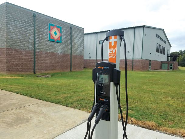 One of two ChargePoint chargers, which power electric vehicles, sits in the parking lot outside the Starkville Sportsplex. Mississippi has 168 public charging outlets, including one in downtown Columbus, according to data from the U.S. Department of Energy's Alternative Fuels Data Center.