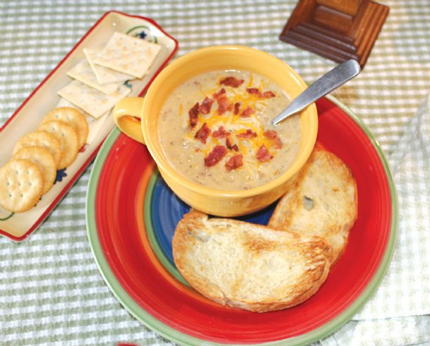 A bacon-potato corn chowder checked all the boxes for a warming meal during the rare ice storm that hit the Golden Triangle Monday.