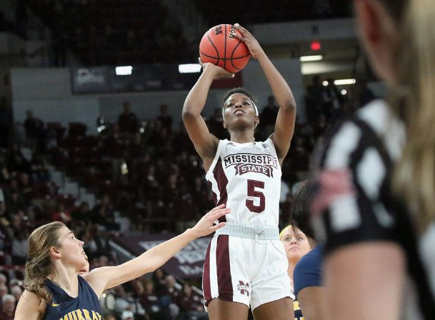 Mississippi State's Rickea Jackson (5) shoots over Murray State's Alexis Burpo (32) during the first quarter of their NCAA college basketball game Friday night Nov. 15, 2019 in Starkville.